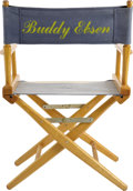 Movie/TV Memorabilia:Props, Buddy Ebsen's Blue and White Director's Chair. A blue and whitestriped director's chair with Buddy's name stenciled on both...(Total: 1 Item)