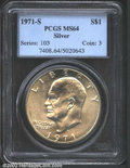 "Eisenhower Dollars: , 1971-S $1 Silver MS64 PCGS. The latest Coin World ""Trends"" ..."