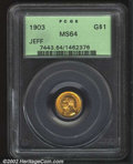 Commemorative Gold: , 1903 $1 Louisiana Purchase/Jefferson MS64 PCGS. ...