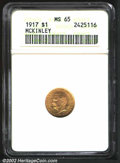 Commemorative Gold: , 1917 $1 McKinley MS65 ANACS. A sparkling Gem with frosty ...