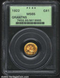 Commemorative Gold: , 1922 $1 Grant MS65 PCGS. The otherwise orange-gold ...