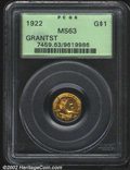 Commemorative Gold: , 1922 $1 Grant with Star MS63 PCGS. This yellowish-orange ...