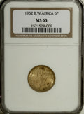 British West Africa: , British West Africa: George VI 6 Pence 1952, KM31, MS63 NGC, fewlight spots, scarce type....