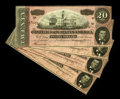 Confederate Notes:1864 Issues, T67 $20 1864. Four Examples. These four Crisp Uncirculated examples are of the dark red ink variety, listed as Cr. 504, ...