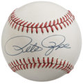 Autographs:Baseballs, Pete Rose Single Signed Baseball. Stellar sweet spot single comesto us courtesy of baseball's Hit King Pete Rose. Booming...
