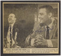 Autographs:Photos, 1980's Roger Maris & Stan Musial Signed News Photograph.Clipping from a 1967 sports page announcing the Yankee slugger'ss...