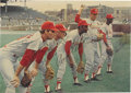 Autographs:Photos, 1967 St. Louis Cardinals Signed Photograph with Maris, Flood,Brock. What a line-up! Terrific color photo of pre-game warm...