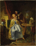 Fine Art - Painting, European:Other , FRENCH SCHOOL (Nineteenth Century). Cavalier Caressing A Lady. Oil on canvas. 22 x 17 inches (55.9 x 43.2 cm). Signed lo...