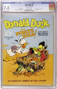 """Four Color #9 """"Donald Duck Finds Pirate Gold"""" (Dell, 1942) CGC VF- 7.5 Off-white pages"""