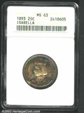 1893 25C Isabella Quarter MS63 ANACS. Rich sea-green and golden-brown patina. A well struck and lustrous Commemorative t...