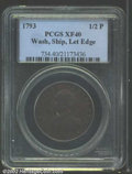 Colonials: , 1793 1/2P Washington Ship Halfpenny, Copper, Lettered Edge ...