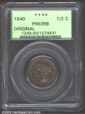 Proof Braided Hair Half Cents: , 1840 1/2 C Original PR63 Red and Brown PCGS. B-1a, R.6. ...