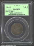 Proof Braided Hair Half Cents: , 1843 1/2 C Restrike PR64 Red and Brown PCGS. B-2, R.6. ...