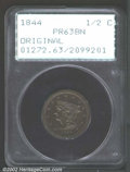 Proof Braided Hair Half Cents: , 1844 1/2 C Original PR63 Brown PCGS. B-1, R.6. Two proofs ...