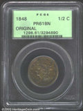 Proof Braided Hair Half Cents: , 1848 1/2 C Original PR61 Brown PCGS. B-1a, Low R.7. The ...