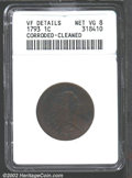 Large Cents: , 1793 1C Wreath Cent--Lettered Edge, Corroded, Cleaned--...
