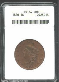 1820 1C Large Date MS64 Brown ANACS. Red toning shines through the fields of this large Cent. A distinctive die crack ci...
