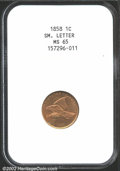 1858 1C Small Letters MS65 NGC. Fully defined with lovely reddish mint luster that has begun to take on an overlay of go...