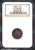 Proof Indian Cents: , 1874 1C PR65 Red and Brown NGC. Spectacular shades of ...