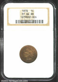 Proof Indian Cents: , 1878 1C PR64 Red and Brown NGC. Fully defined throughout ...