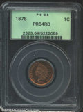 Proof Indian Cents: , 1878 1C PR64 Red PCGS. There is a faint pinscratch ...