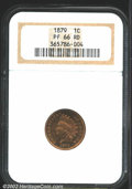 Proof Indian Cents: , 1879 1C PR66 Red NGC. A well struck Cent that has fiery ...