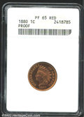 Proof Indian Cents: , 1880 1C PR65 Red ANACS. A lovely Gem that has champagne-...
