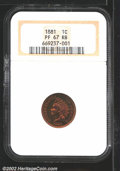 Proof Indian Cents: , 1881 1C PR67 Red and Brown NGC. The lightest traces of ...