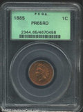 Proof Indian Cents: , 1885 1C PR65 Red PCGS. Iridescently toned in vivacious ...