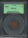 Proof Indian Cents: , 1897 1C PR64 Red PCGS. A sharply struck near-Gem that has ...