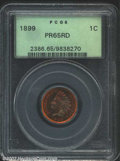 Proof Indian Cents: , 1899 1C PR65 Red PCGS. The base of the 18 in the date is ...