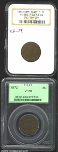 Two Cent Pieces: , 1865 2C AU53 NGC, FS-2.7, Breen-2385, KF-F1, Fancy 5 in ...