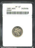 1889 3CN PR67 ANACS. A bright, highly reflective example. Free of toning and noticeable surface abrasions. ...(PCGS# 378...