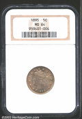 Liberty Nickels: , 1895 5C MS64 NGC. Lustrous and mildly prooflike with tan-...