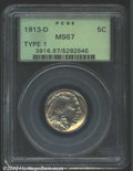 Buffalo Nickels: , 1913-D 5C Type One MS67 PCGS. High on the list of '13-D ...
