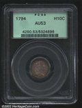 Early Half Dimes: , 1794 H10C AU53 PCGS. V-3, LM-3, R.4. A later die state, ...
