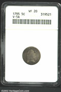 Early Half Dimes: , 1795 H10C VF20 ANACS. V-5A, LM-8, R.3. Light gray-green ...