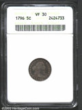 Early Half Dimes: , 1796 H10C VF30 ANACS. V-1, LM-1, R.3. One of just two ...