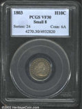 Early Half Dimes: , 1803 H10C Small 8 VF30 PCGS. V-3, LM-1, R.6. A scarce ...