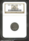 Bust Dimes: , 1814 10C Small Date AU50 NGC. JR-1, R.3. The thick, rich, ...
