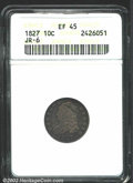 Bust Dimes: , 1827 10C XF45 ANACS. JR-6, R.2. Dusky cobalt-blue and ...