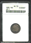 Bust Dimes: , 1835 10C AU53 ANACS. JR-1, R.1. The obverse is accented ...