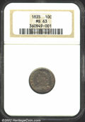 Bust Dimes: , 1835 10C MS63 NGC. JR-6, R.4. Star 8 is sharply repunched....