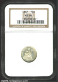 Seated Dimes: , 1862 10C MS66 NGC. Lustrous and nicely struck with rich ...