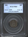 Proof Seated Dimes: , 1881 10C PR65 PCGS. Iridescent gold, violet, green, and ...