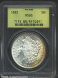 Morgan Dollars: , 1883 $1 MS66 PCGS. The right obverse border has a rich ...