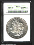 1893 $1 MS63 ANACS. VAM-2, R.4. The 3 in the date is lightly repunched at the top, and has an open 3 logotype. Well stru...