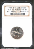 Errors: , 1999-D 25C Delaware Quarter--Struck on a 5C Planchet--MS64 ...