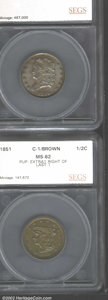 Additional Certified Coins: , 1829 1/2 C Half Cent MS62 Brown (MS60 Brown) SEGS, C-1, ...