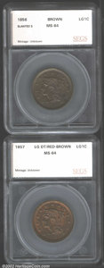 Additional Certified Coins: , 1856 1C Slanted 5 Braided Hair Cent MS64 Brown (MS63 Brown) ...